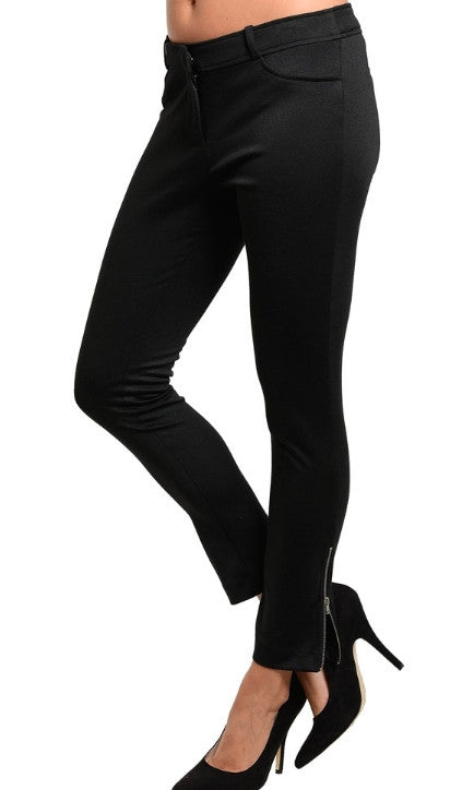 faux pockets zipped ankle black pants