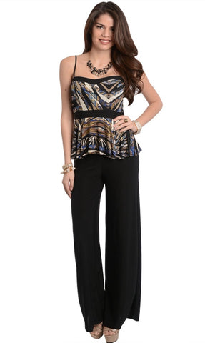 2 piece black pants set. tank top