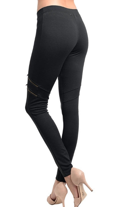Mock Zippered Black Skinny Pants