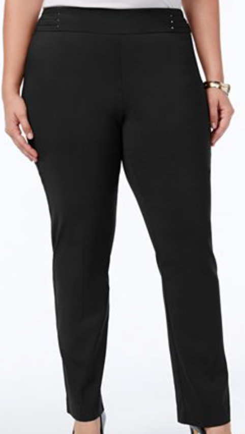 Women's Slim Fit Black Plus Size Pants
