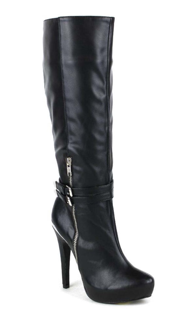 Side zipper black high heel boots