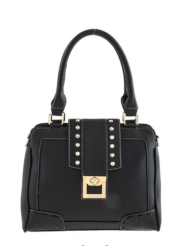 studded accent black handbag