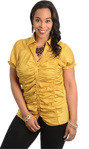 Smocked Sleeve Mustard Shirt - Final Sale