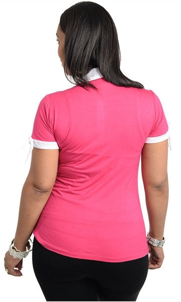 Mock Collar Fuchsia Top
