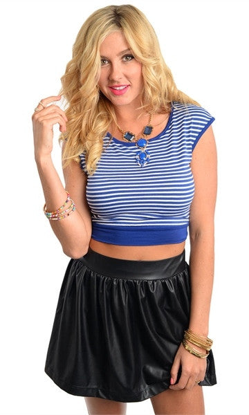 blue stripped plus size crop top