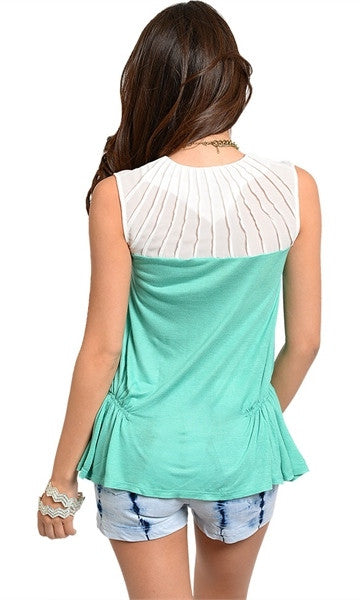 Ruched Side Mint & White Top - FINAL SALE