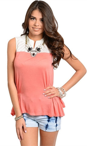Ruched Side Coral & White Top - FINAL SALE