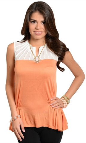 Ruched Side Mango & White Top - FINAL SALE