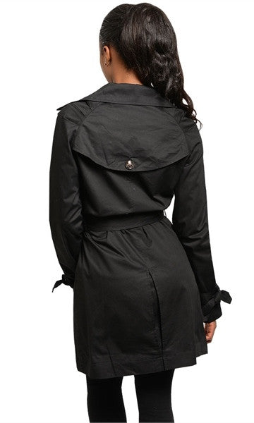 black trench coat with belt