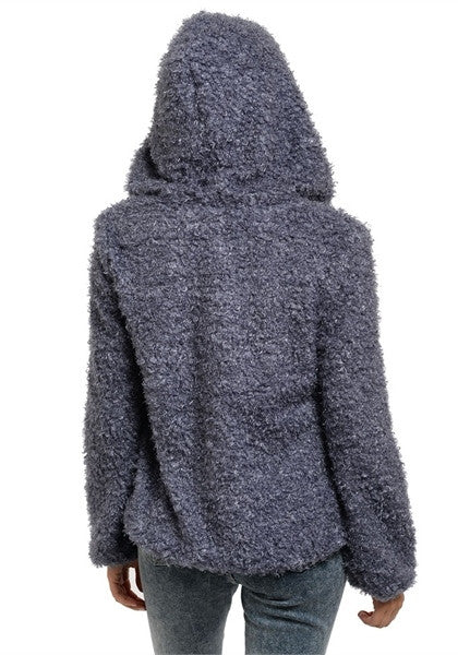 Fuzzy Hooded Charcoal Jacket - FINAL SALE