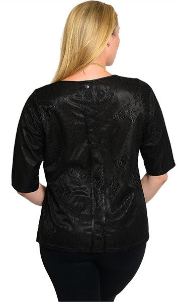 Plus Size Floral Black Shirt