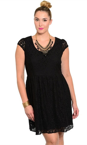 floral lace plus size black dress
