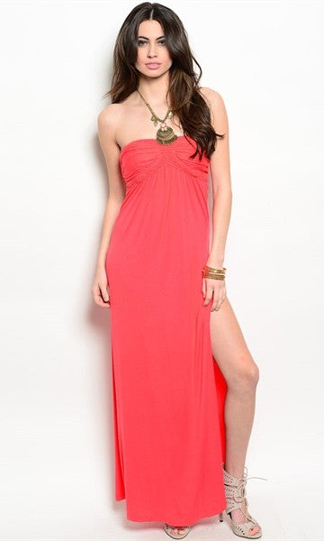 Strapless Coral Dress