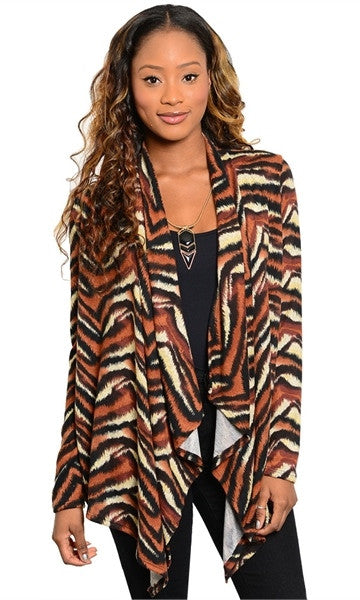 Tiger Print Cardigan - Final Sale