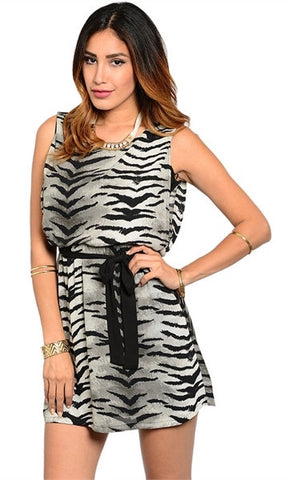 Gray and Black Tiger Print Dress