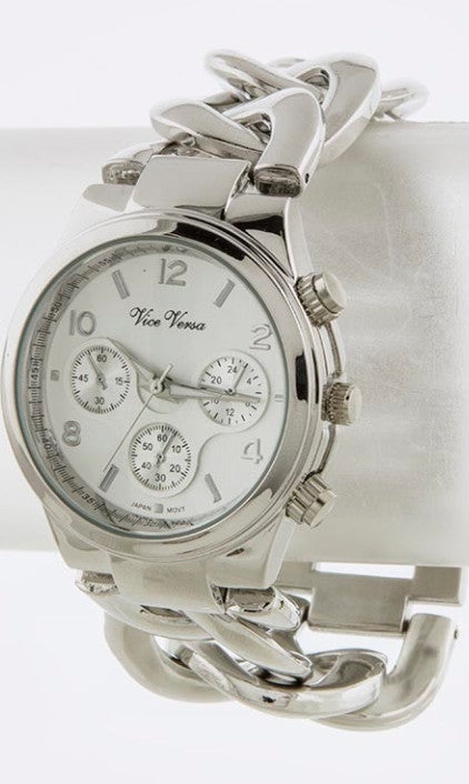 ladies silver chain watch