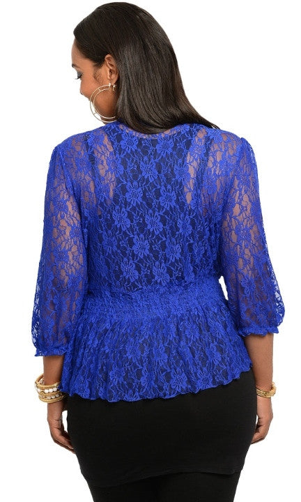 Plus Size Blue Cardigan