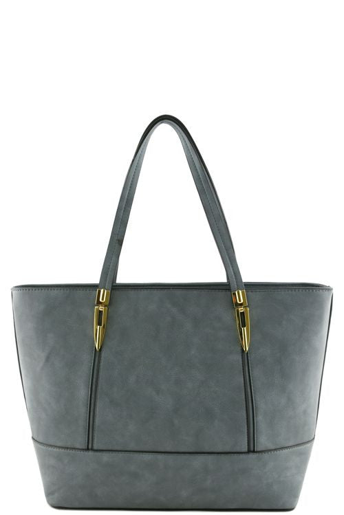 Faux leather blue tote bag