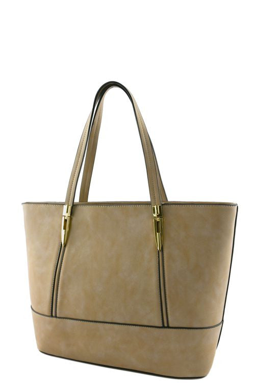 soft khaki tote bag