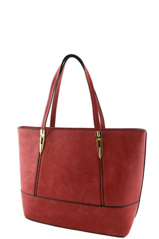 red soft material tote bag