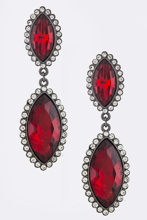 faux ruby teardrop earrings