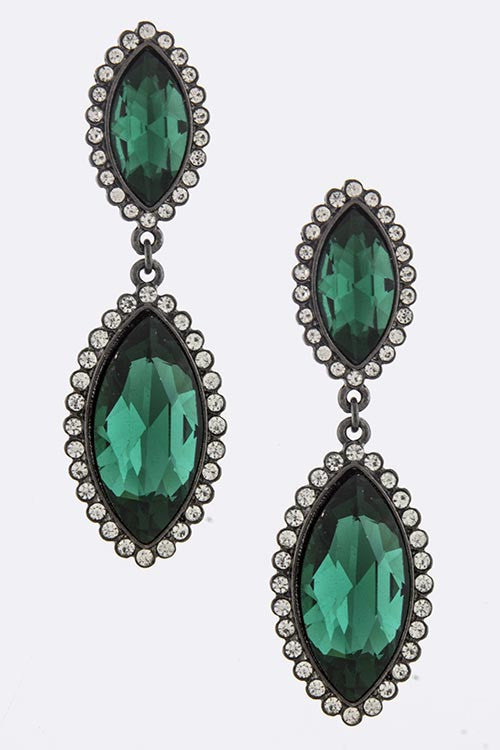 Faux Emerald Teardrop Earrings