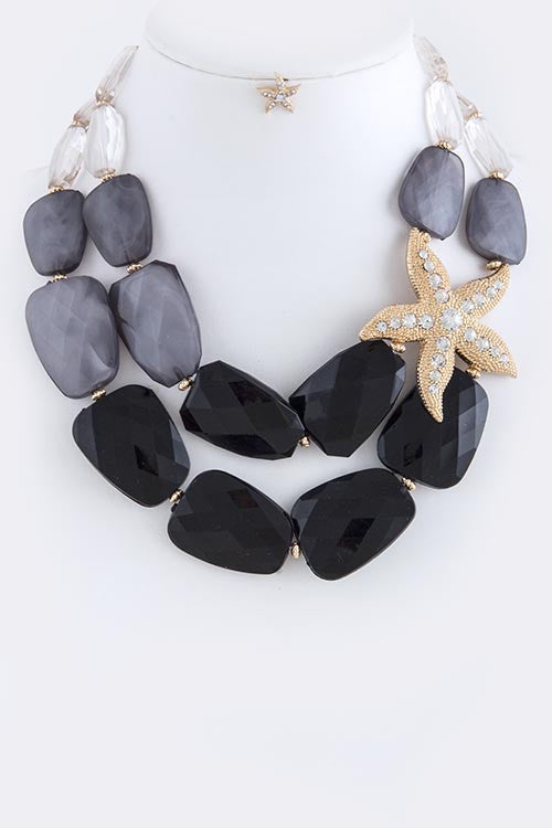 black and gray  rhinestone necklace