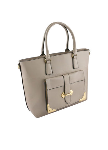Khaki pocket accent tote bag