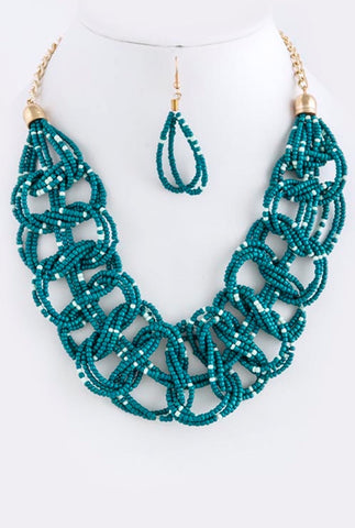 Teal Beaded Necklace Set