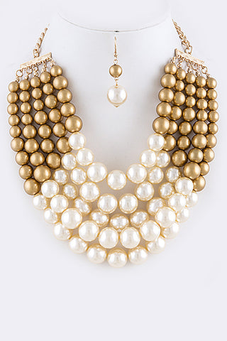 gold and cream pearl multi layer necklace with pearl earrings