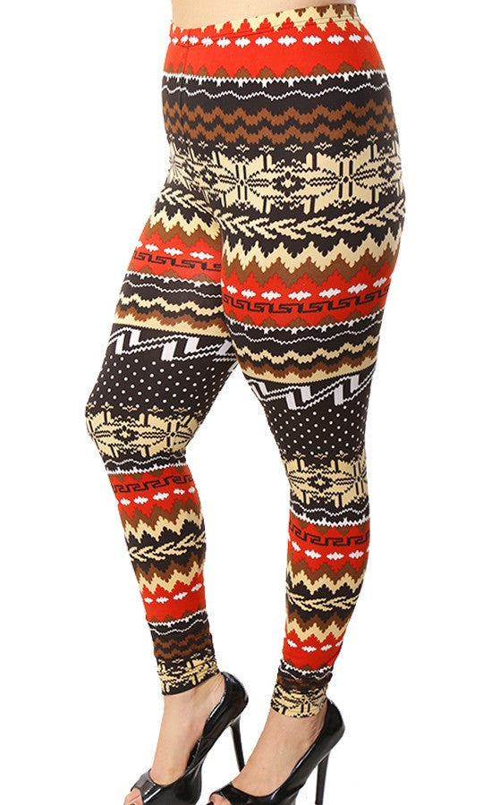 Multi Print Plus Size Leggings -FINAL SALE