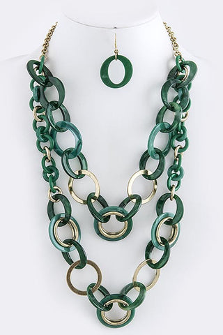 emerald green and gold necklace and drop earrings