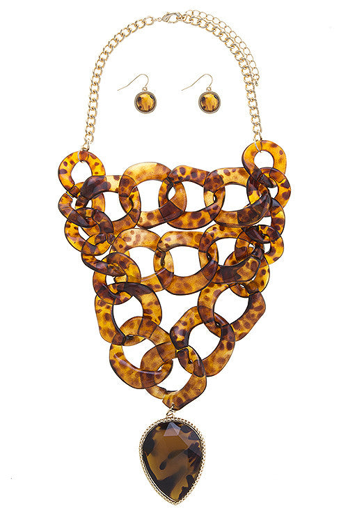 linked chain bib necklace