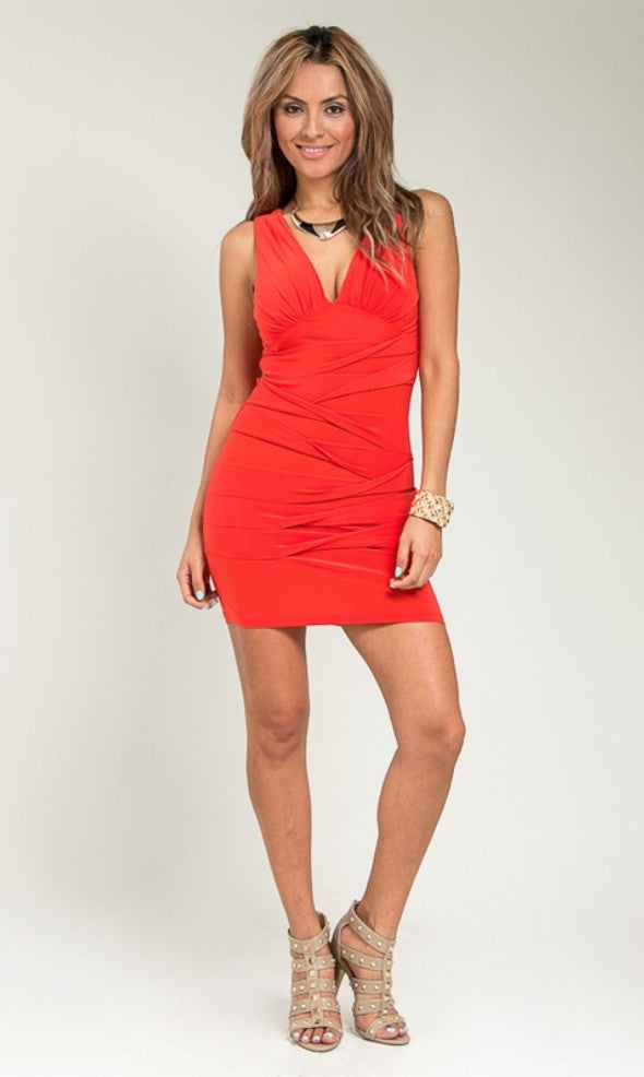 Orange Bandage Wrap Dress - Junior Fashion