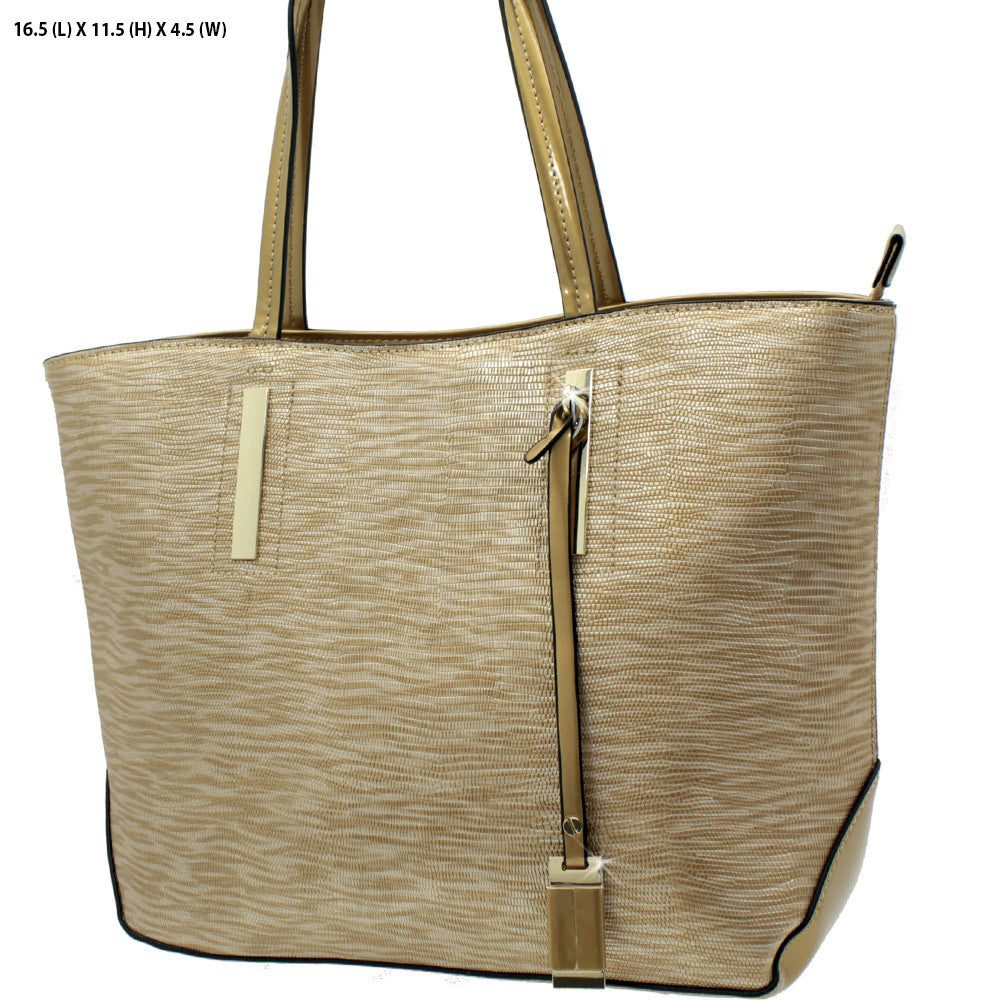 double handle gold tote bag