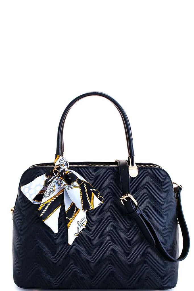 Black Domed Satchel with Silky Scarf