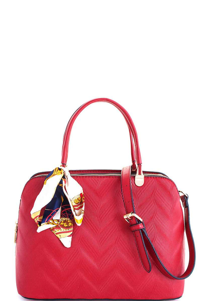 red domed top zip closure tote bag