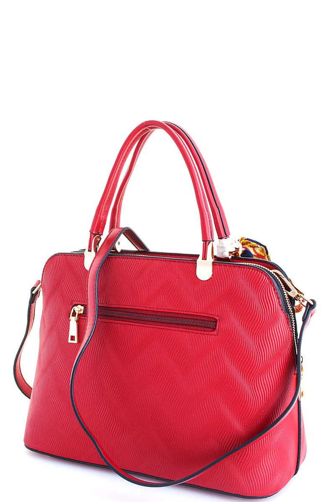 red tote back with outer zipper pocket
