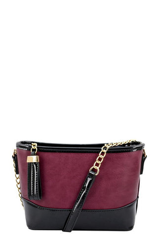 burgundy and black messenger bag