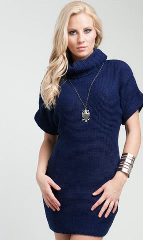 blue short sleeve turtleneck sweater dress