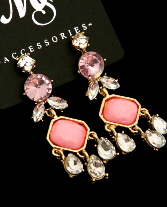 Pink Rhinestone Chandelier Earrings