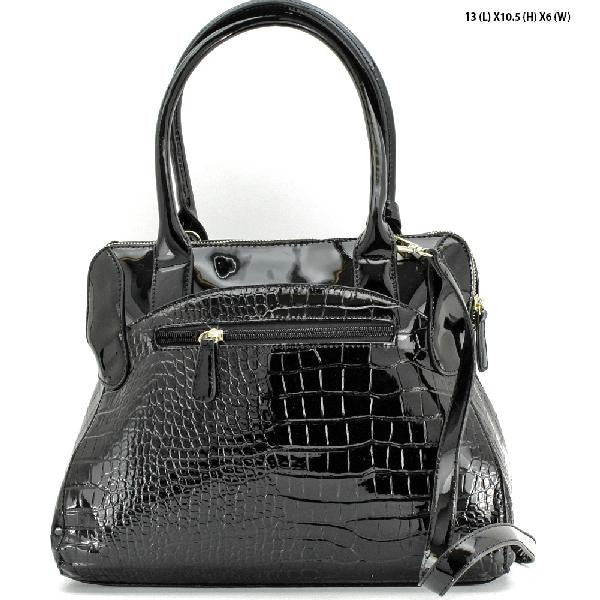 Croc Styled Black Purse