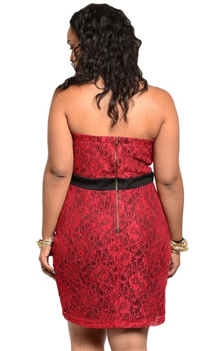 Plus Size Strapless Evening Dress
