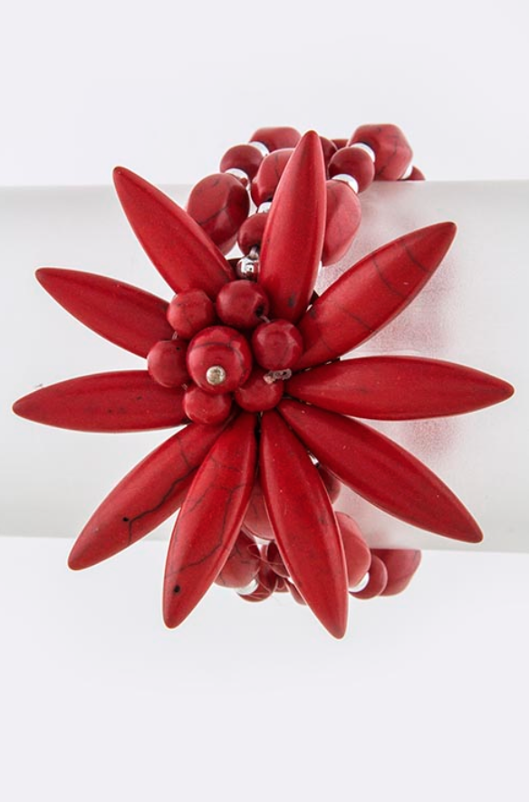 Red Sunburst Floral Bracelet