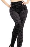 Black Printed Letter Leggings - *FS