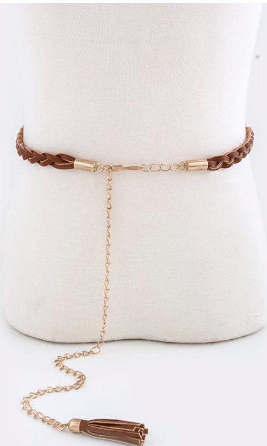 brown fringe braided belt