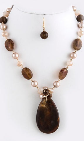 Brown stone and pearl necklace