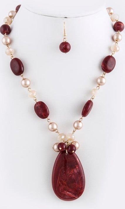 red stone and pearl necklace