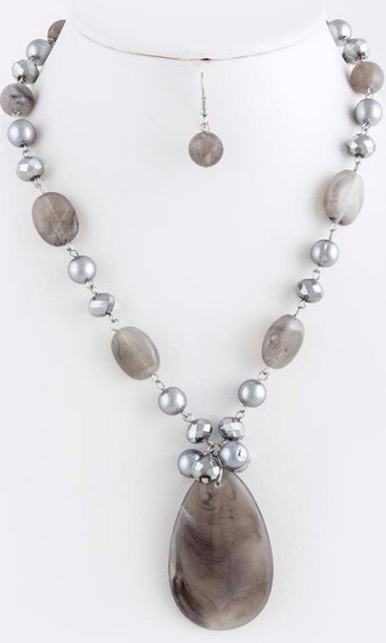 Gray Stone and Pearl Necklace and Earrings - Factory Seconds*