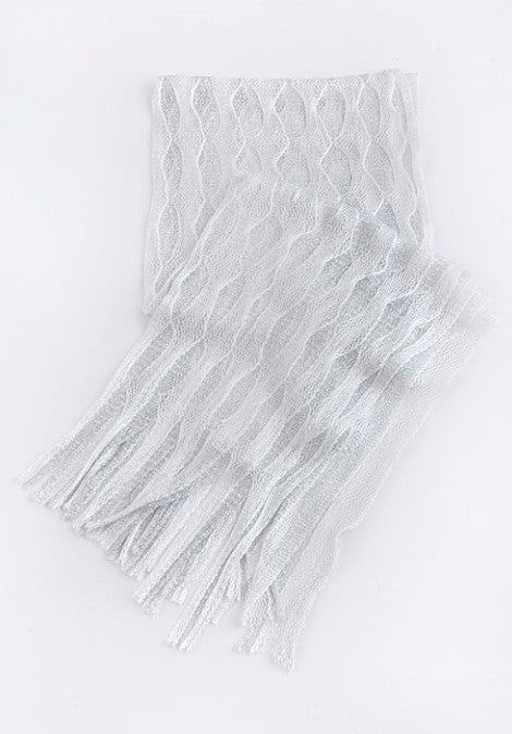 Fringe Accented Net Scarf
